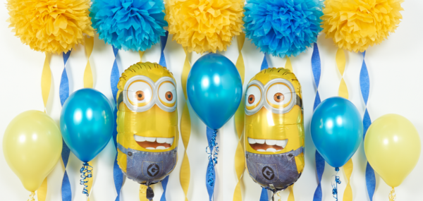 DIY Despicable Me and Minions party ideas featured image - balloons and crepe paper