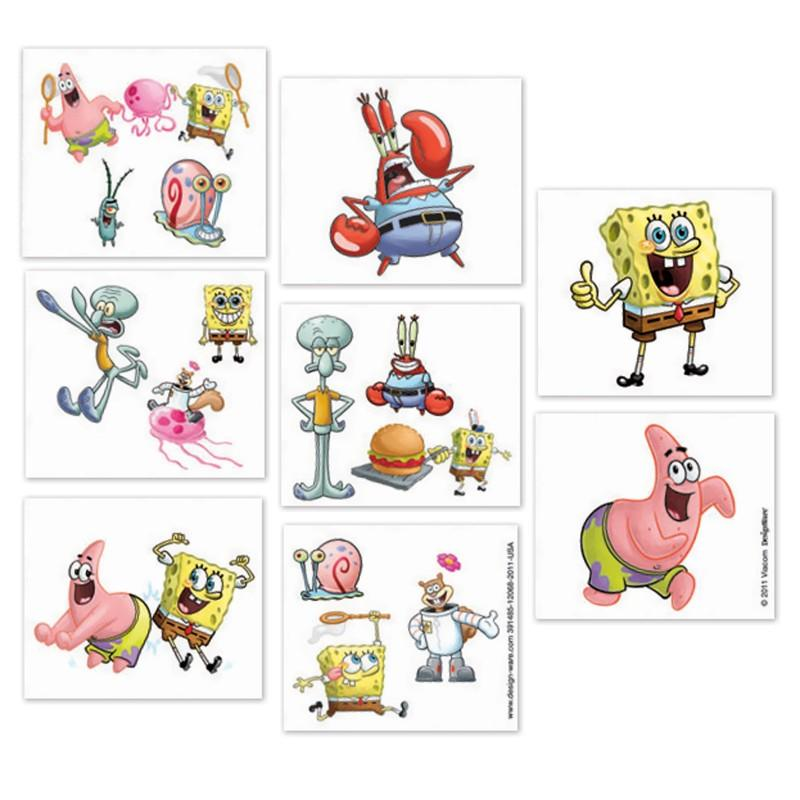 spongebob temp tattoos