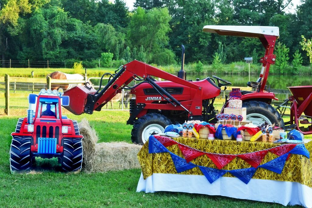 Farm Tractor Party on an actual farm